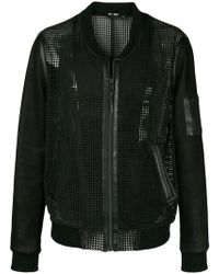 BLK DNM - Collarless leather mesh-like jacket - Lyst
