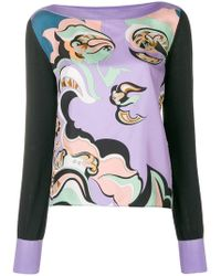 Emilio Pucci - Knit Sleeve Printed Panel Top - Lyst