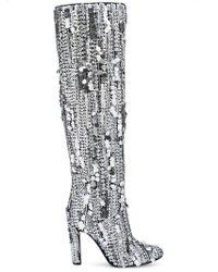 Alberta Ferretti - Sequins Knee-high Boots - Lyst