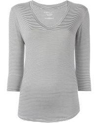 Majestic Filatures - Striped V-neck T-shirt - Lyst