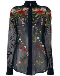 Piccione.piccione - Embroidered Tulle Shirt - Lyst