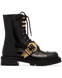 Versace - Studded Belt Leather Brogued Boots - Lyst