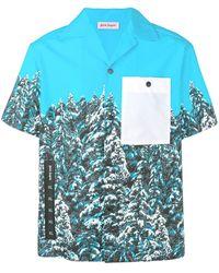 Palm Angels T-Shirt mit Baum-Print - Blau
