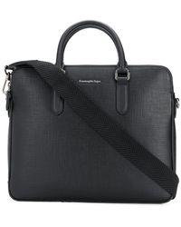 Ermenegildo Zegna Logo Plaque Laptop Bag - Black