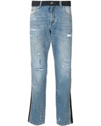Dolce & Gabbana Panel Distressed Jeans - Blue