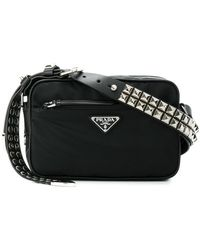 25908870f3bf ... wholesale prada black studded strap textile shoulder bag lyst b1ef1  e336a