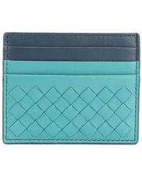 Bottega Veneta - Aqua Intrecciato Nappa Card Case - Lyst
