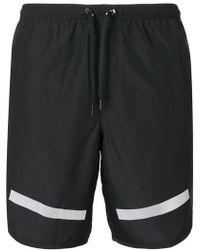 Neil Barrett - Stripe Hem Swimming Shorts - Lyst