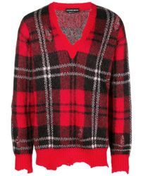 Alexander McQueen - Checked Print With Distressed Details Wool-blend Jumper - Lyst