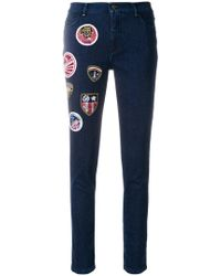 Mr & Mrs Italy - Decorative Patch Cropped Jeans - Lyst