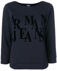 Armani Jeans - Three-quarters Sleeve Logo Sweatshirt - Lyst