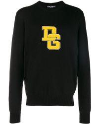 Dolce & Gabbana - Logo-appliqué Crew-neck Wool Jumper - Lyst