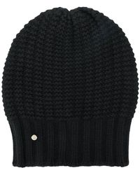Emporio Armani - Logo Cable-knit Beanie Hat - Lyst