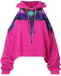 Marcelo Burlon - One Shoulder Hoodie - Lyst