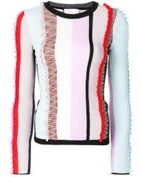 Cinq À Sept - Frill Stripe Panel Sweater - Lyst