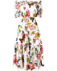 Dolce & Gabbana - Vestido de mariposas fruncido - Lyst