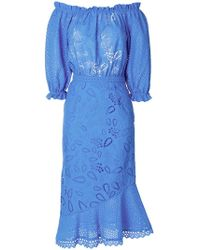Saloni - Embroidered Floral Dress - Lyst