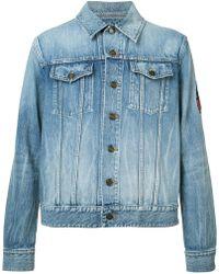 Saint Laurent | Patch Detail Denim Jacket | Lyst