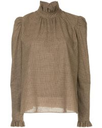 Goen.J - Checked Ruffle Trimmed Top - Lyst