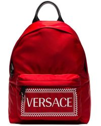 Versace - Red Logo Backpack - Lyst