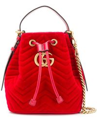Gucci - Gg Marmont Quilted Bucket Bag - Lyst