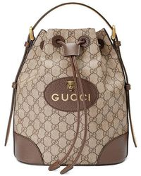 28383331e34 Lyst - Gucci Brown And Black Padlock GG Supreme Backpack in Brown