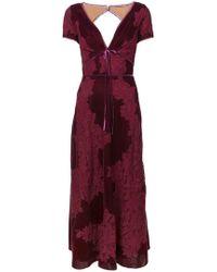 Marchesa notte - Plunge Neck Lace Panel Dress - Lyst