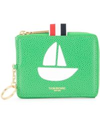 Thom Browne Zip Coin Pouch - Green