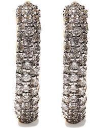 David Yurman - 18kt Yellow Gold Petite Pavé Diamond huggie Hoop Earrings - Lyst