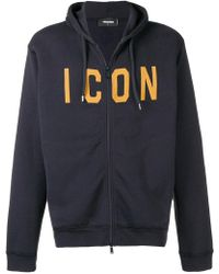 DSquared² - Icon Slogan Zipped Hoodie - Lyst