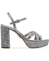 Miu Miu - Silver 105 Glitter Embellished Leather Platform Sandals - Lyst