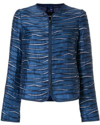 Emporio Armani - Metallic Printed Collarless Jacket - Lyst