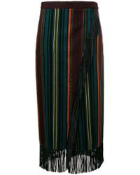 Etro - Striped Wrap-effect Skirt - Lyst