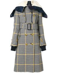 Sacai - Checked Double Layer Coat - Lyst