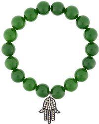 Monan - Beaded Diamond Charm Bracelet - Lyst