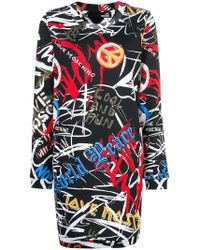 Love Moschino - Graffiti Print Fitted Dress - Lyst