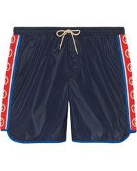 Gucci - Nylon Swim Shorts With Logo Stripe - Lyst
