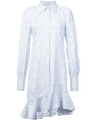 10 Crosby Derek Lam - Long Sleeve Shirtdress With Ruffle Hem - Lyst