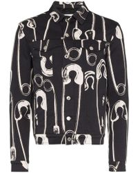 Moschino - Safety Pin Print Denim Jacket - Lyst