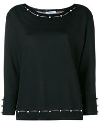 Blumarine - Pearl Embellished Knitted Top - Lyst