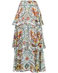 Etro - Tiered Floral Skirt - Lyst
