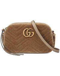 fc9e83e108f Gucci - Gg Marmont Velvet Small Shoulder Bag - Lyst
