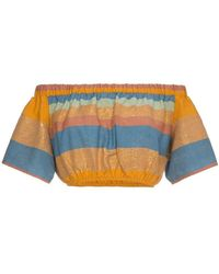 A Peace Treaty - Striped Cotton And Silk Crop Top - Lyst
