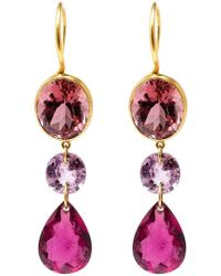Marie-hélène De Taillac - 22kt Yellow Gold Drop Tourmaline Earrings - Lyst