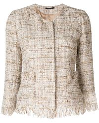 Tagliatore - Cropped Tweed Jacket - Lyst