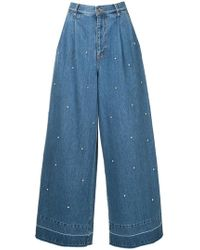 MUVEIL - Embellished Wide-leg Jeans - Lyst