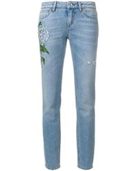 Dolce & Gabbana - Floral Patch Straight-leg Jeans - Lyst