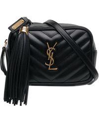 Saint Laurent Black Quilted Logo Detail Leather Belt Bag