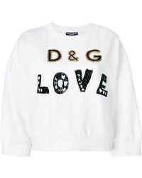 Dolce & Gabbana - Love Metallic Embellished Sweatshirt - Lyst