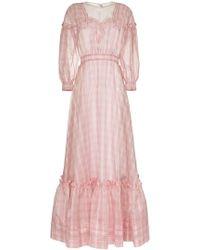 CALVIN KLEIN 205W39NYC - Check Print Silk Gown - Lyst